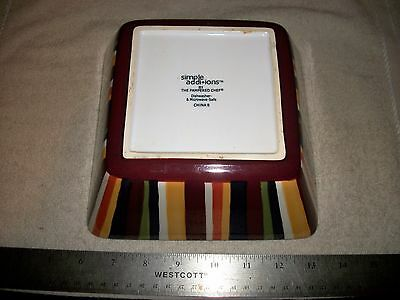 """The Pampered Chef Simple Additions 7.5"""" Square Small Bowl- Multi Color Stripes"""