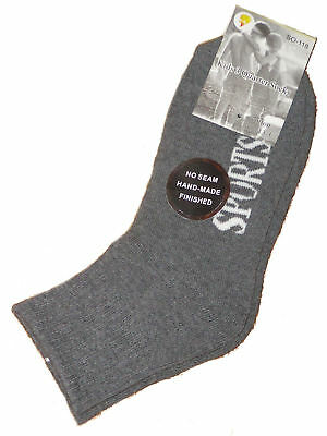 6 Pairs Sz 13-3 Grey Cushion Foot 3/4 Ankle Sport Sox
