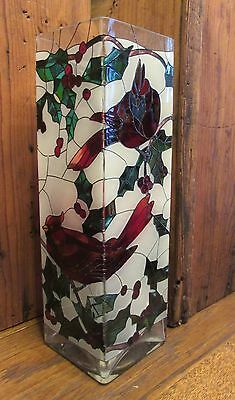 Joan Baker-Cardinal Bird Candle Holder - Stained Glass -  Hand Painted