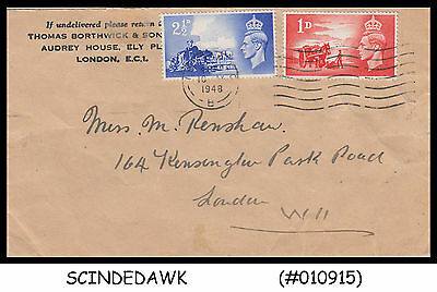 Great Britain - 1948 Envelope With Channel Islands Stamps Sg#c1 & C2 - Used