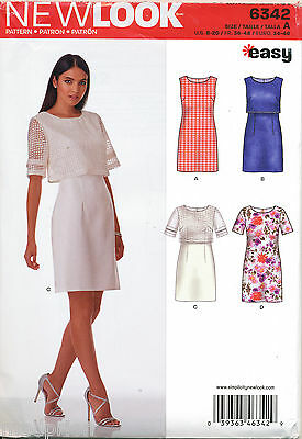New Look Sewing Pattern 6342 Misses Sz 8-20 Easy Dress W/ Or Without Crop Top