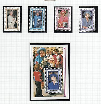 (74882) Antigua Barbuda MNH Queen Mother 90th minisheet + stamps 1990 u/m