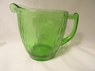 Green Depression Glass Hex Optic Pitcher Sunflower Base Mint Jeanette
