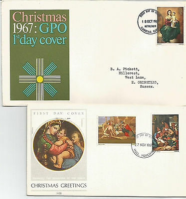 Gb Fdc 1967 Christmas-2 Covers