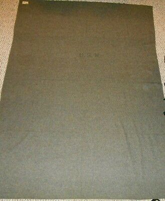 """Vintage U.S.N. Military 100% Wool Gray Blanket Size 82"""" x 60"""" Great Condition"""