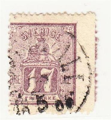 SWEDEN : 1862 17 Ore Used (2 Scans)