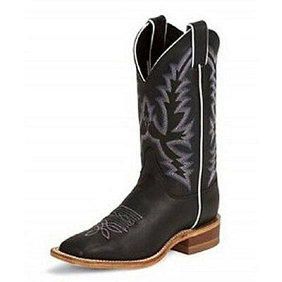 BRL316 Justin Ladies Bent Rail Black Burnished Calf Western Cowboy Boot NEW
