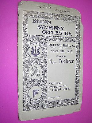London Symphony Orchestra Programme. Queen's Hall 1910. Conductor Hans Richter
