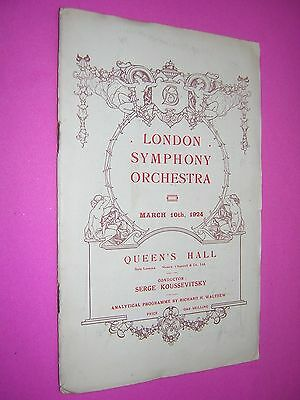 London Symphony Orchestra Programme. Queen's Hall 1924. Conductor S Koussevitsky