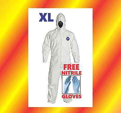 XL HOOD Tyvek Protective Coverall Suit Paint CleanUp Hazmat FREE Nitrile Glove