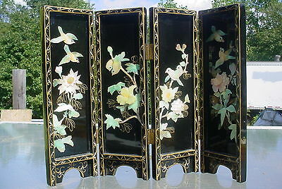 Black Lacquer Oriental 4-Panel Table Screen Mother of Pearl Birds Flowers