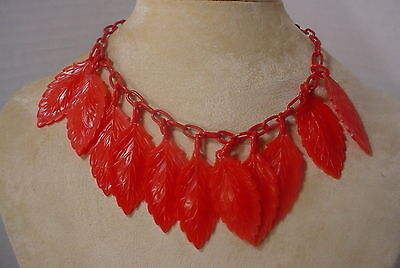 """Vintage  Celluloid Plastic Chain with 2 1/2"""" Plastic RED Leaves Necklace Choker"""