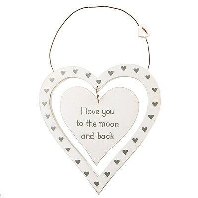 I Love You To The Moon Dainty Heart Plaque