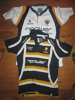 Two Boys Worcester Warriors Rugby Jerseys Shirt,kukri And Cotton Traders