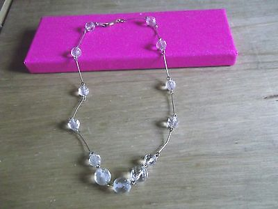 "Antique?vintage Clear Faceted Crystal 15"" Necklace"
