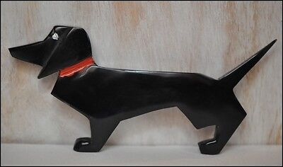 Vintage Deco Hand Carved Black Galalith Dachshund Dog Pin Brooch