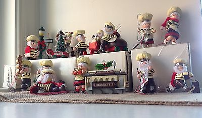 Vintage Kurt Adler Hershey's Wood Christmas Ornaments Set Of 15