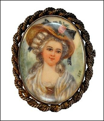 Exquisite Antique Signed Hand Painted Miniature Lady Portrait Pin -Beveled Glass