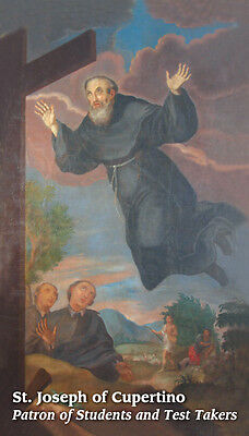 Saint St. Joseph of Cupertino Holy Prayer Card for Success in Examinations