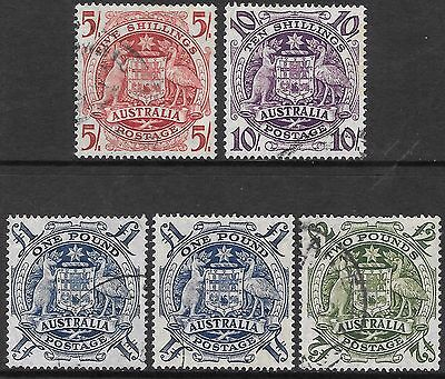 AUSTRALIA 1949-50 Arms set 4 (2 * £1, 1 with print flaw) used. SG 224a/224d.