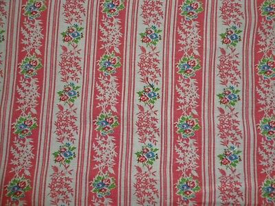 """Feed Sack Fabric Bubble Gum Pink Stripe Floral 38""""x 43"""" Vintage Quilt Fabric Use"""