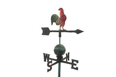 Cast Iron Rooster Cockeral Weather Wind Vane Antique Green Finish Weathervane
