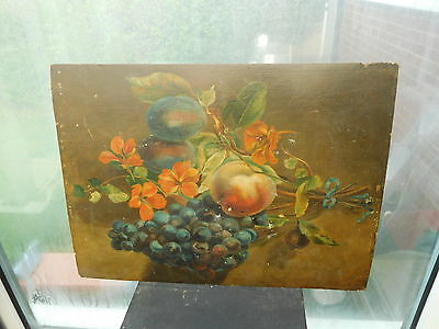 Antique Oil Painting on Wood Panel Still Life of Fruit