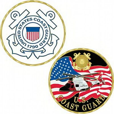 """United States Coast Guard CHALLENGE COIN 1 5/8"""" Helicopter/US Flag/USCG"""