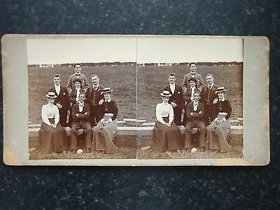 Stereoview Nice Early Image Church Chapel Outing Group Formal Pose