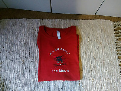Cat Embroidered Red Ladies L/S Tee