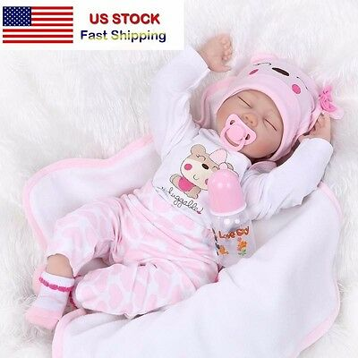 【SHIP FROM USA】22''Handmade Lifelike Baby Silicone Vinyl Reborn Doll +Clothes