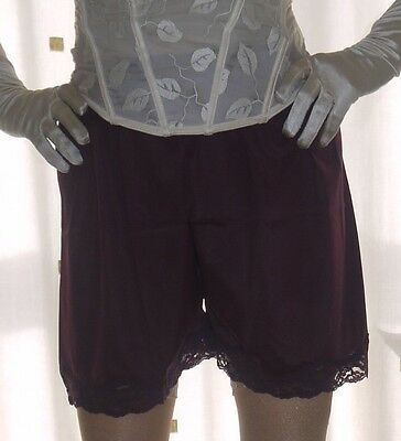 Vintage style aubergine silky nylon gusset french knickers panties waist 26~40""