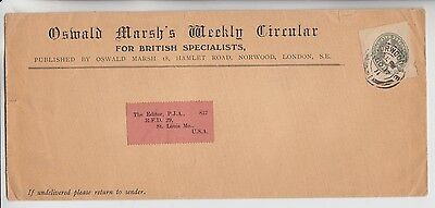 Gb Stamps 1911 Advert Envelope To Usa Stationery Cutout From Collection