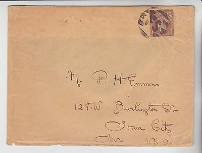 Gb Stamps 1906 Envelope With Stationery Cutout To Iowa From Collection