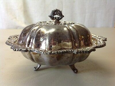 Free Shipping!! Vintage Antique Le Silverplate Footed Covered Caviar Dish Bowl