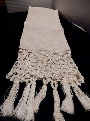Vintage Cream Linen with Lace and Tassel Fringe   16x44