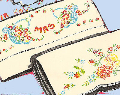 1950s Vintage Vogart Embroidery Transfer 135 Uncut His & Hers Wreath Pillowcases