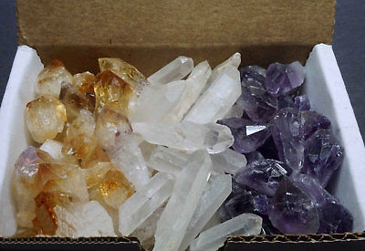 3 Crystal Collection 1/2 Lb Lots Natural Points & Blades Amethyst Quartz Citrine