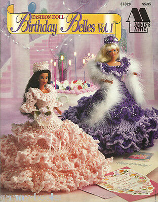 Birthday Belles 1 Annies Attic Crochet Barbie Fashion Doll Dress