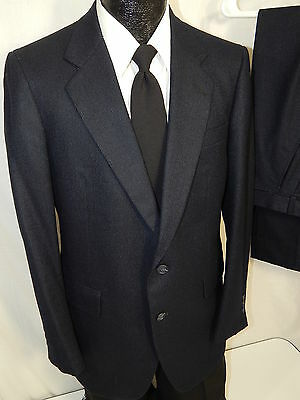 Vtg Sasson Men's 2 pc NAVY Blue PIN STRIPE Wool FLANNEL Suit Blazer 40 R 32/31