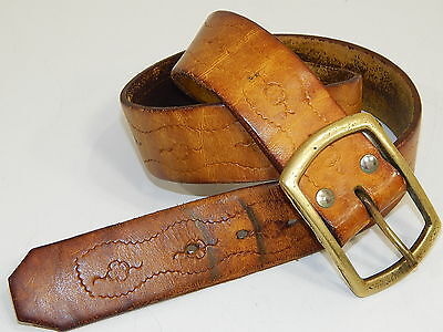 Vtg 70's Women DISTRESSED Brown TOOLED Leather HIPPIE FLOWERS BoHo Belt 30.-32