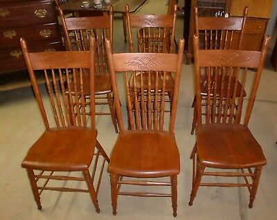 Antique Press Back Oak Set of (6) Dining Room Chairs OUTSTANDING! Sturdy