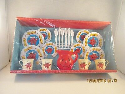 Vintage 1983 Kool-Aid Dish Play Set With Pitcher & Plastic Ware Sealed In Box