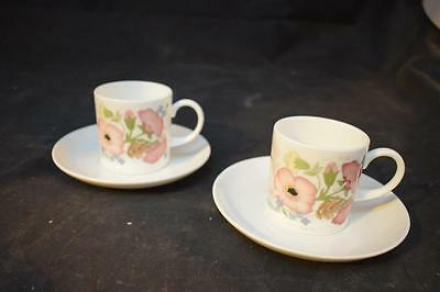 "Wedgwood Bone China ""Meadow Sweet"" Pattern Tea cup and Saucer Set x 2"