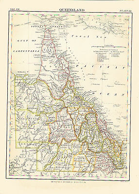 1876 Color County Map of QUEENSLAND AUSTRALIA