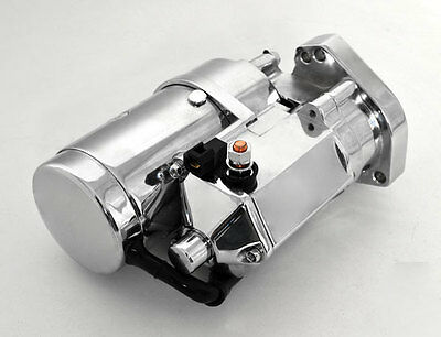 New Chrome Heavy Duty Starter 2.0 Kw Thunder Fire For Harley Big Twins 1989-06