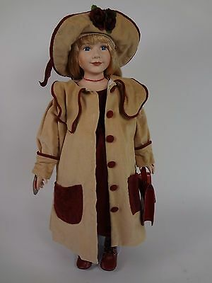 """Delton 24"""" Porcelain Sara Doll w/ Winter Dress Coat Style 7026-8 w/ Stand in Box"""