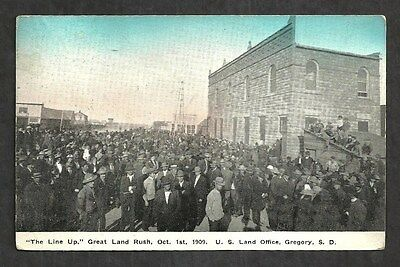 """M416 - Antique Postcard, """"the Line Up"""" Great Land Rush. Oct 1 1909 - Gregory,sd"""