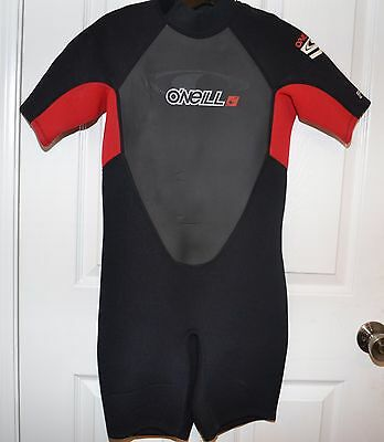 O'NEILL Red Gray Black Shorty Wet Suit Surfing Wakeboard Wetsuit Youth Boys 14