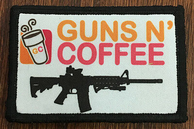 Tactical Guns and Coffee Morale Patch Funny Military Army Hook Flag Dunkin